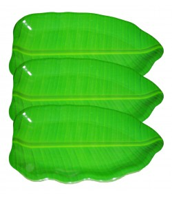 16 inch Banana Leaf Shape South Indian Dinner Lunch Serving Melamine Platter PlateFor All Occasions - 3 Pcs