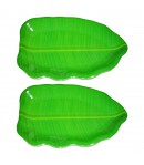16 inch Banana Leaf Shape South Indian Dinner Lunch Serving Melamine Platter Plate For All Occasions - 2 Pcs