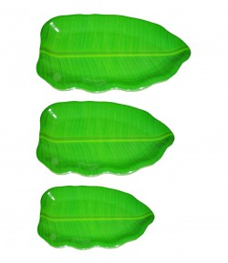 Banana Leaf Shape South Indian Dinner Lunch Serving Melamine Plastic Platter Plate - 3 Pcs