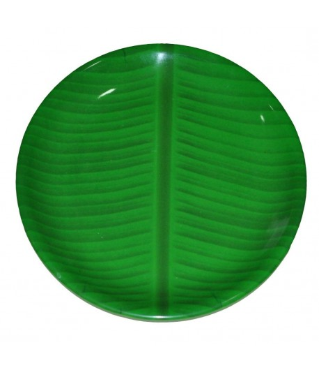 11 inch Banana Leaf South Indian Round Ice Cream Starters Serving Melamine Plate For All OccasionS
