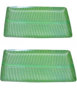 Banana Leaf Plate, Banana Leaves,Serving Melamine Plate For All Occasions(Pack of 2)