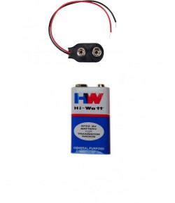 Hi-Watt 9V  Batteries with Battery Clip Connector